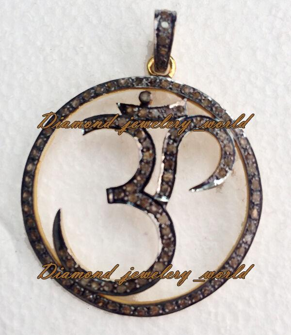 2.71cts Genuine Old Mine Rose Cut Diamond Silver Vintage Lord OM Pendant Jewelry