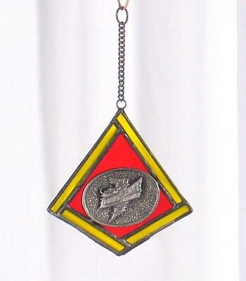 STAINED GLASS ORNAMENT ISU Iowa State University Cyclones Christmas suncatcher ()
