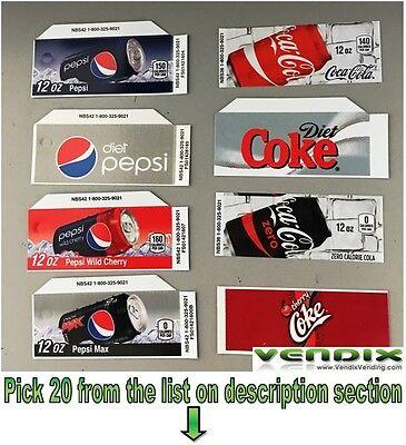 Pick 20 Flavor Tab Strip Soda Label Coke Pepsi Vending Machine Vendo Dixie Narco