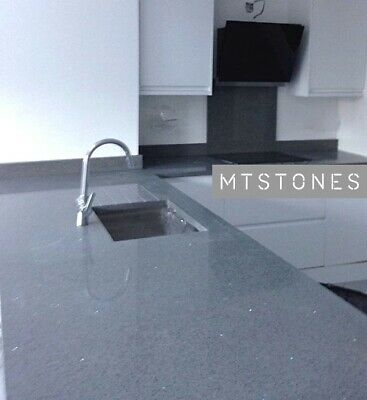 QUARTZ & GRANITE WORKTOPS I GREY MIRROR FLECKS SAMPLE I ALL COLOURS AVAILABLE