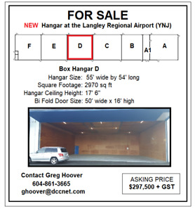 55' x 54' - Airplane Hangar For Sale - Langley Airport