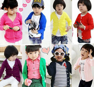 NEW-KIDS-CHILD-TODDLER-COTTON-SCHOOL-LONG-SLEEVE-BOYS-GIRLS-V-NECK-CARDIGAN