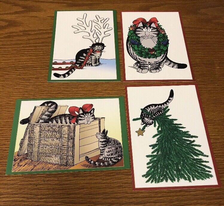 """4 KLIBAN KILBAN CAT CHRISTMAS HOLIDAY CARDS ENVELOPES """"Seasons Greetings"""" RARE"""