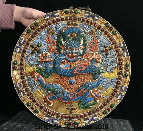 "16.2"" Old Tibet Buddhism Copper Painting Inlay Gem Emboss Dragon Plate Wall Hang"