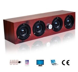 USB Powered Wooden Stereo 4 Speakers System