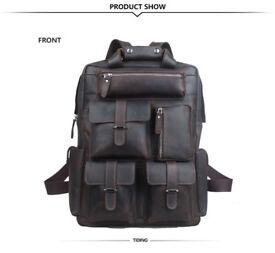 """Men's Leather 17"""" Laptop Multi-Pocket Backpack"""