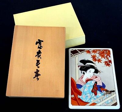 Noritake Wood - DEUTSCHE NORITAKE Porcelain China JAPANESE Geisha BIJIN GA Wall Plaque WOOD BOX