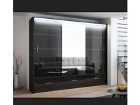 FURITURE IN STORES-MARSYLIA WARDROBE IN BLACK WHITE AND GREY COLOR OPTIONS WITH LOT OF HANGING SPACE