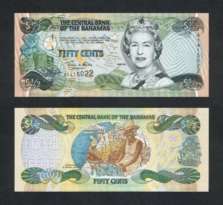 BAHAMAS Half (1/2) Dollar, 2001, P-68, Queen Elizabeth II, UNC World Currency