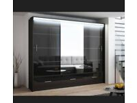 Flat Packed Furniture-- NEW MARSYLIA 2&3 SLIDING DOOR WARDROBE WITH LED LIGHT AND SAME DAY DELIVERY