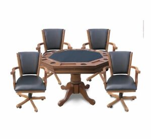New Oak 3 in 1 poker table and chairs