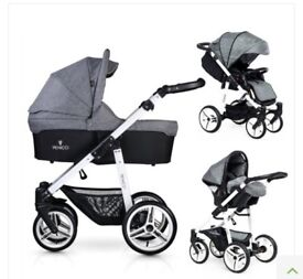 Venicci soft travel system with isofix for car seat.