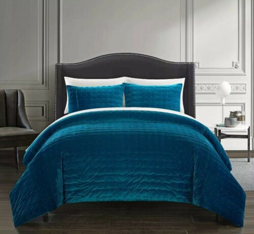 New Chic Home Chyna Teal Comforter Set Stitched Quilted Velv