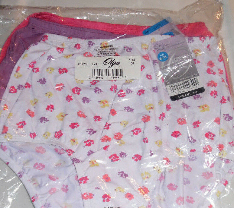 Olga Brief Without A Stitch Nylon Yellow Pink Purple Flower 3 Panties Size 8 XL