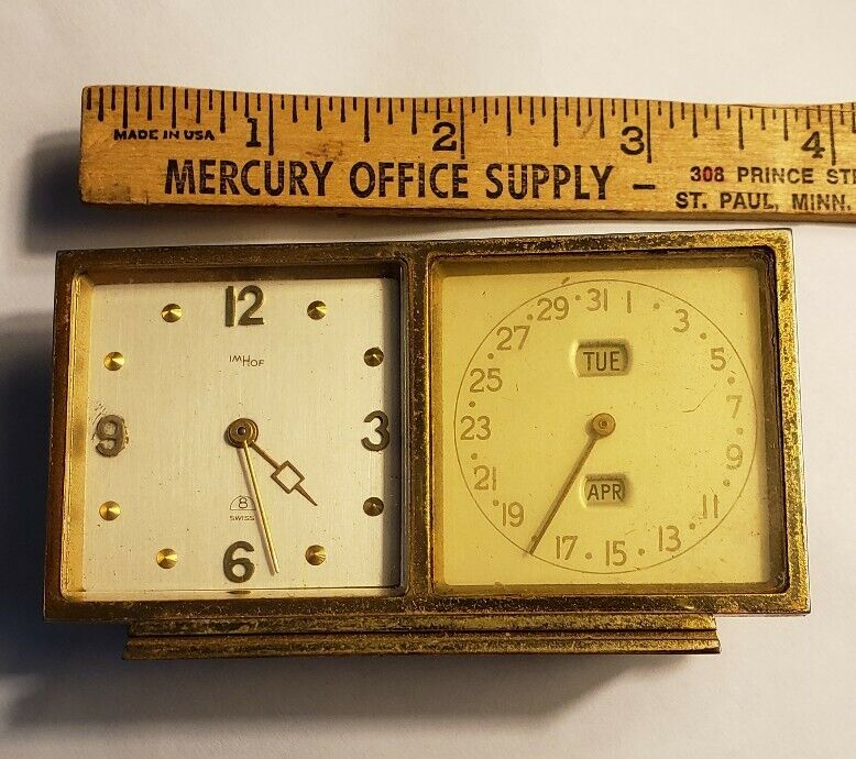 RARE Bucherer IMHOF table clock with Calendar Swiss 8 day movement