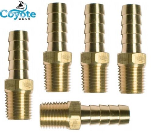 """5 Pack Lot Brass Hose Barb 3/8"""" ID X 1/8 Male NPT Thread Fitting Coyote Gear"""