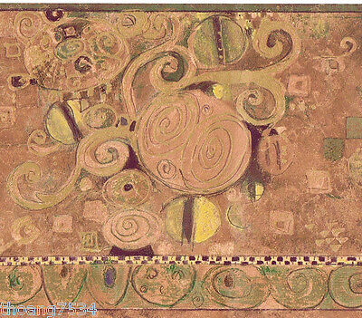 Metallic Scroll Wallpaper (Modern Contemporary Scroll Abstract Shimmer Bronze Copper Gold Wall paper Border)