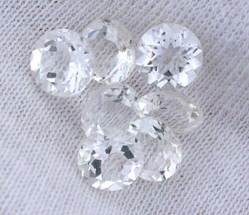 Two 6.5mm Round Natural Bolivian White Topaz Gem Stone Gemstone EBS2877