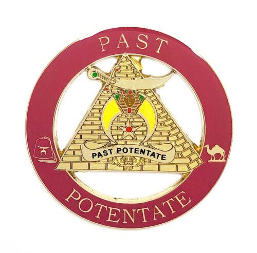 Deluxe Shriner Past Potentate car emblem 3 inch gold & red #CD23