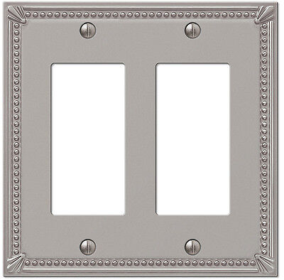 DOUBLE (2) GFI ROCKER IMPERIAL BEAD BRUSHED NICKEL SWITCHPLATE -