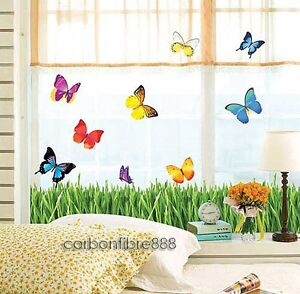 Colourful-Butterfly-Grass-Wall-Stickers-Art-Decal-Paper-Wall-Border-Home-Decor