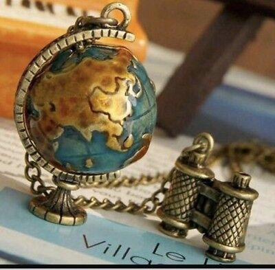 Binoculars World Globe Necklace Bronze Gold Unusual Gift Globetrotter Long Chain ()