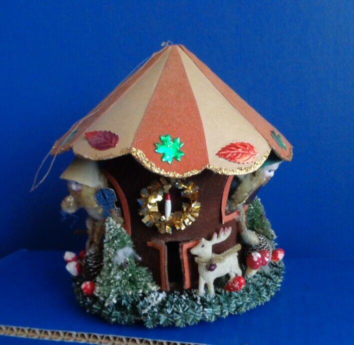 VINTAGE CHRISTMAS ELF HOUSE ORNAMENT OR DISPLAY- MID CENTURY
