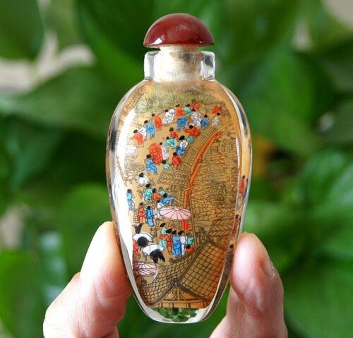 Chinese Riverside Scene at Qingming Festival  Inside painted Snuff Bottle