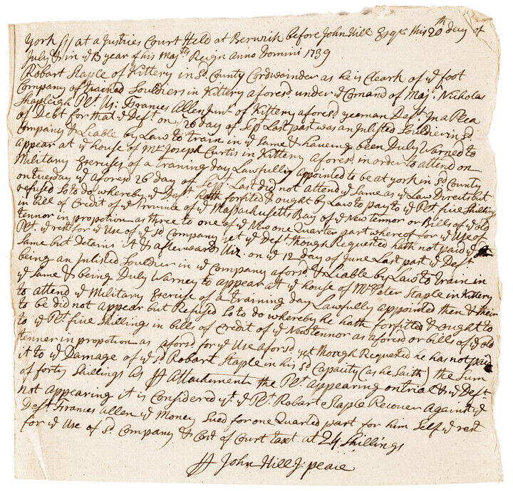 1739 Francis Allen Pays Damages for Failing to Properly Train Colonial Soldiers