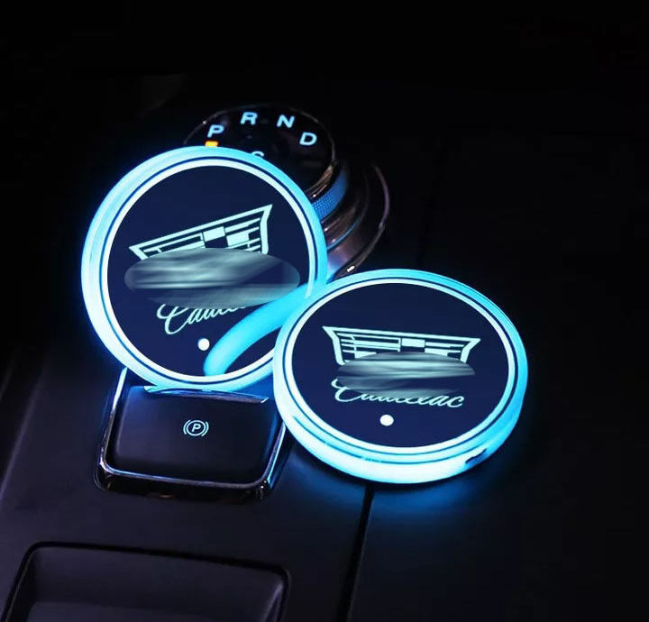 Car Parts - 2PCS LED Car Cup Holder Pad Mat for Cadillac Auto Atmosphere Lights Colorful