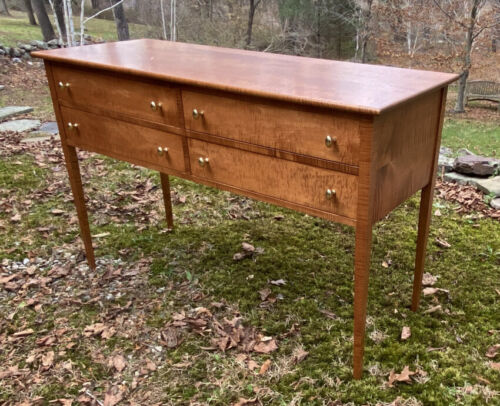 Vintage sideboard in strong solid tiger maple 4 drawers large hand cut dovetails