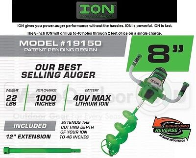 19150 ION 8 INCH Charged ICE FISHING HOLE AUGER WITH REVERSE RECONDITIONED