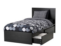 Malm single dark brown/black ikea bed with 2 drawer storage