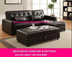 SECTIONAL SOFA BED WITH STORAGE OTTOMAN....$599