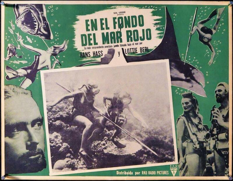 L219      UNDER THE RED SEA, original Mexican Lobby Card
