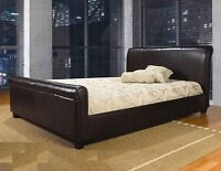 SALE 30% OFF - BRAND NEW UPHOLSTERED LEATHER BED, DOUBLE & QUEEN