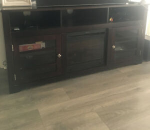 TV Console Table with Electric Fireplace