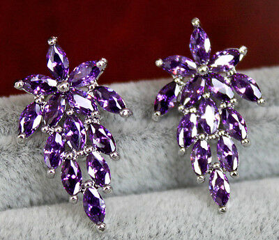 (18K White Gold Filled - Flower Grapes Amethyst Topaz Gemstone Cocktail Earrings)
