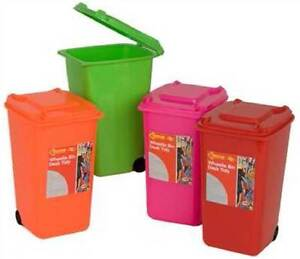 MINI WHEELIE BIN DESK TIDY HOME OFFICE DESKTOP  STATIONARY PEN ORGANISER HOLDER