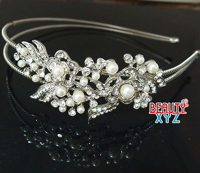 Bridal Flowers Pearl Crystal headband Head Piece Hair Band Head Jewelry
