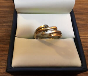 925 SILVER 1/3 10k GOLD RING SIZE 7