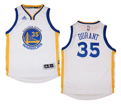 Youth Kevin Durant #35 Golden State Warriors NBA Adidas White Swingman Jersey