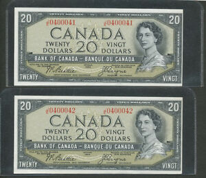 Two MINT CONDITION 1954 $20 Canada Bills w Consecutive serial #s