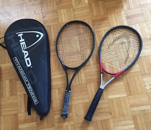 Head Tennis Rocket with cover and old Dunlop Rocket