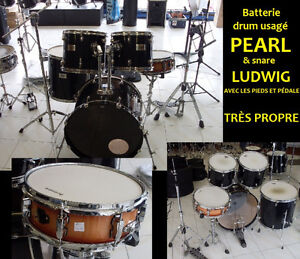 SUPER AUBAINE! Batterie drum usagé PEARL & hard & Snare LUDWIG