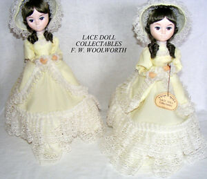 "Vintage Woolworths ""Lace Doll Collectables"" – pair, like new"