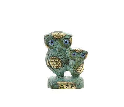 Statue Owl Greek Bronze Sculpture Greece Antique BDK545