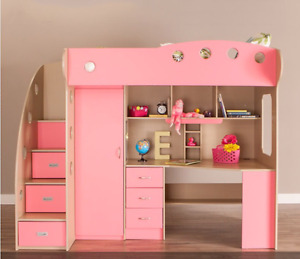 NIKA Loft Bed (Maple and Pink)