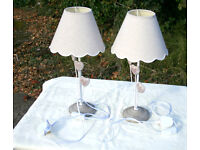 Two Metal Lamps with Heart Decoration and Shades