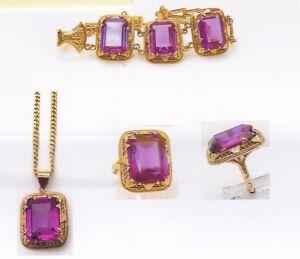 Antique 14K Rose Gold Egyptian Ring, Bracelet & Pendant